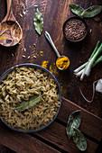 Greek kritharaki with lentils and laurel