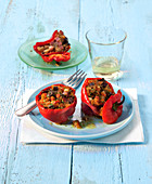 Peppers filled with bread and aubergines