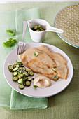 Hähnchenschnitzel mit Zucchini und Thunfischsauce