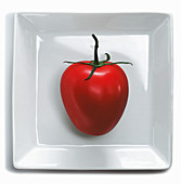 A tomato on a square plate