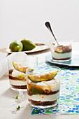 Tiramisu with chocolate biscuits, ricotta cream and figs