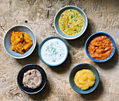Six different Indian sauces and dips