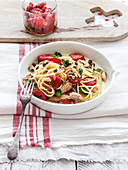 Spaghetti with mackerel and confit tomatoes
