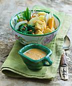 Gado Gado (vegetable salad with peanut sauce, India)