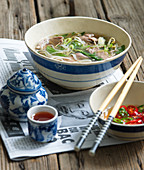 Thai duck soup with vermicelli