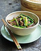 Indonesian beef with pepper sauce and wok beans