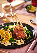 Rack of lamb with green asparagus and tagliatelle