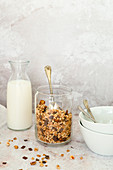 Granola with milk chocolate and hazelnuts