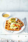 Marmite eggs Benedict with waffles
