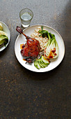 Twice-cooked sticky duck with pak choi