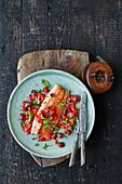 Lachsforelle mit Tomatensauce