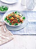 Lamm-Dopiaza auf Reis mit Broccoli
