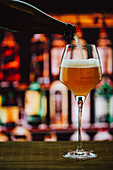 Beer in wineglass with foam on wooden counter in bar on blur background