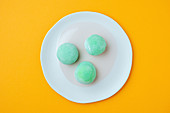 Delicious dessert with green icing
