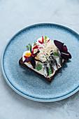 Fisch-Ei-Sandwich mit frischen Kräutern und fein geriebenem Käse
