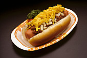 Street vendor Chili Dog with cheese and onions in a bun