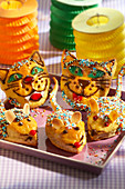 Cat-and-mouse pastries for a children's party
