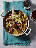 Beef ragout with Catalogna chicory and fennel
