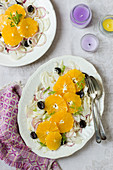 Fennel, orange salad with blach olives and red onion