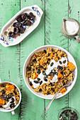 Pilaf with pumpkin, pumpkin seeds and prunes, yogurt