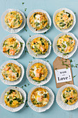 Egg muffins with salmon and broccoli