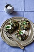 Spinach and leek fritters, yogurt, parley