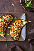 Aubergines stuffed with cous cous and chickpeas, fresh mint, yogurt