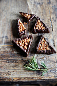 Triangular chocolate nut cookies for Christmas