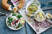 Türkische Cremes: Haydari, weiße Bohnencreme und Auberginencreme