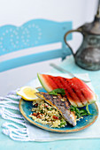 Turkish gilt-head bream with kisir and grilled watermelon