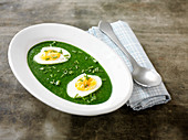 Nettle soup with hard-boiled eggs