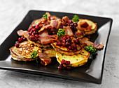 Swedish potato cakes with cranberries