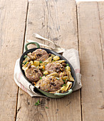 Turkey ossobuco with artichokes, olives and potatoes