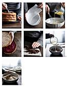 Buckwheat chocolate cake with raspberry jam being made