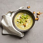 Cream of leek soup with croutons