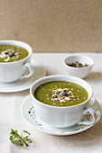Nettle soup with yogurt and seeds