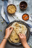 Lavash with olives and vegetable dip