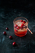 Cranberry Refresher (mocktail with cranberry syrup and orange blossom water)