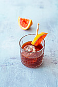 Licorize it (mocktail with licorice syrup, grenadine and pink grapefruit juice)