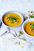 Roast Carrot and Garlic Soup with Crunchy Chickpeas