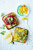 Sprouted Bread with Dill-Pea Spread and Fermented Veggies