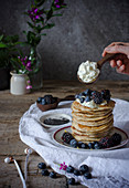 Lemon Pancakes with blackberries and blueberries