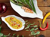 Sahnesuppe mit Garnelen und Basilikum