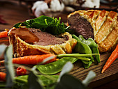 Beef steak with vegetables and wine