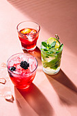 Mojito, Negroni and Bramble cocktail