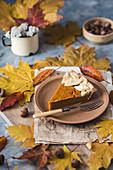 Slice of a vegan pumpkin pie