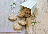 Vegan crispy cookies with flaxseed, millet and poppy seeds