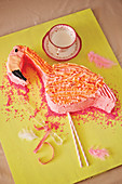 Flamingo shaped birthday cake