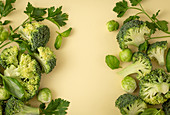 Green vegetables food pattern made of broccoli, Brussels sprouts, basil leaves