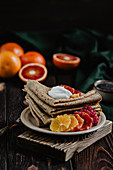 Poppy seed crepes with oranges